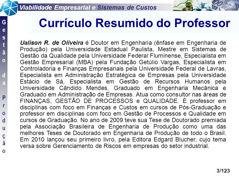 Viabilidade Empresarial e Sistemas de Custos GestãodaProduçãoGestãodaProdução 3/123 Currículo Resumido do Professor Ualison R. de Oliveira é Doutor em