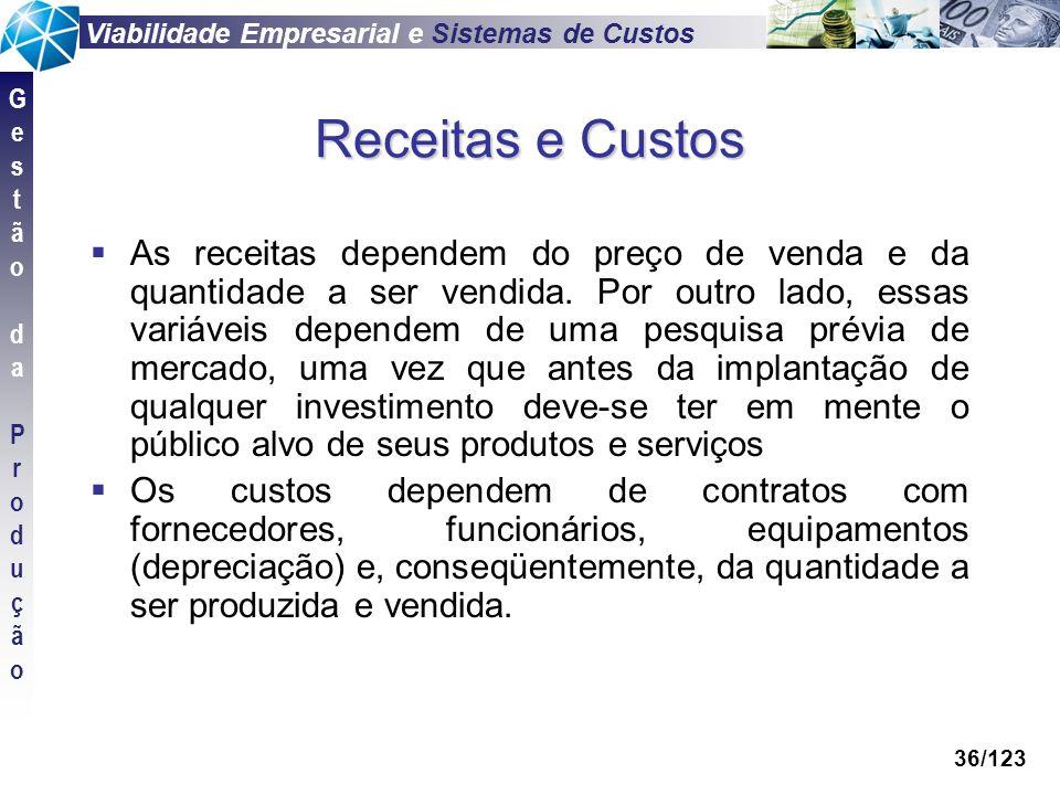 Viabilidade Empresarial e Sistemas de Custos GestãodaProduçãoGestãodaProdução 36/123 Receitas e Custos As receitas dependem do preço de venda e da qua