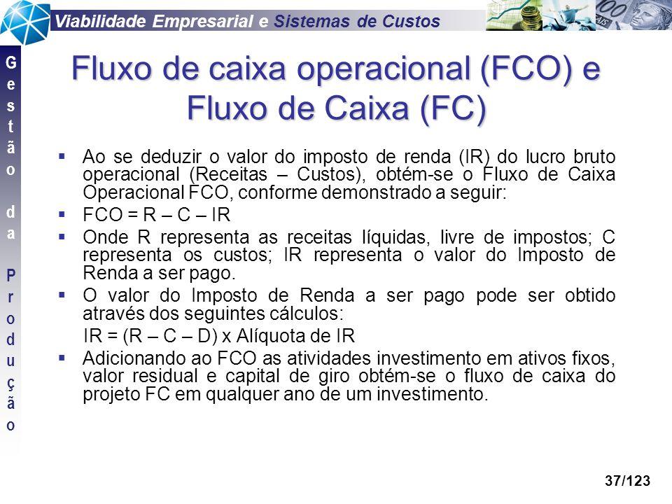 Viabilidade Empresarial e Sistemas de Custos GestãodaProduçãoGestãodaProdução 37/123 Fluxo de caixa operacional (FCO) e Fluxo de Caixa (FC) Ao se dedu
