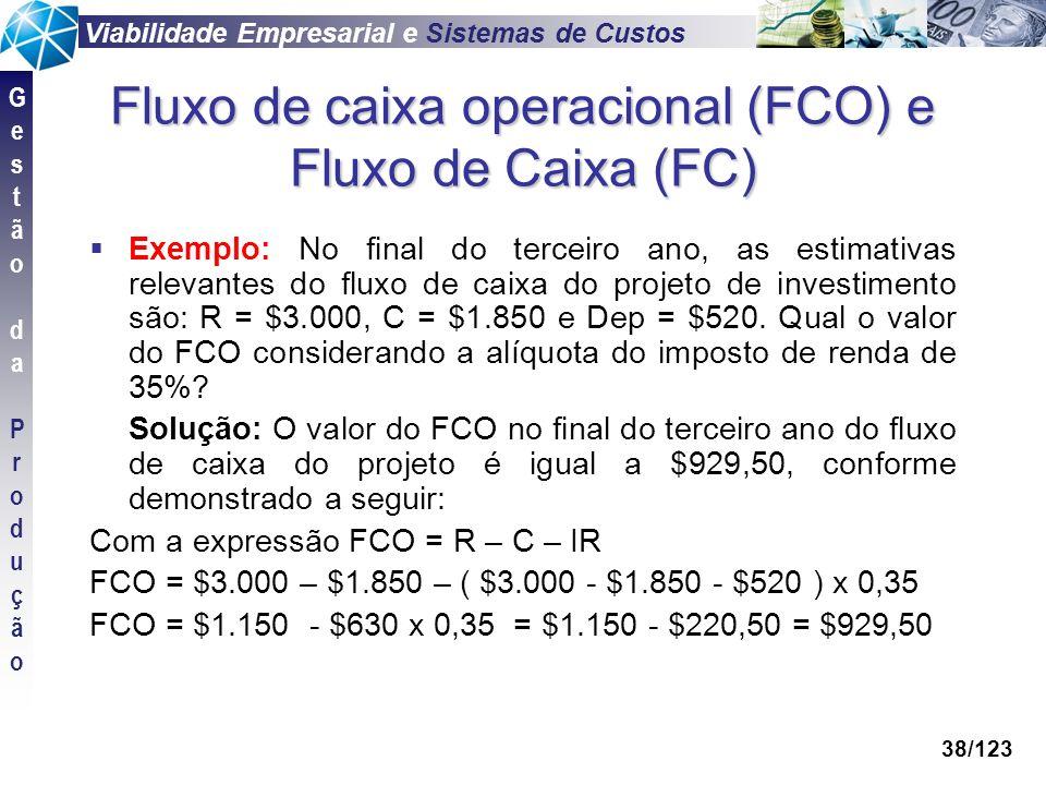 Viabilidade Empresarial e Sistemas de Custos GestãodaProduçãoGestãodaProdução 38/123 Fluxo de caixa operacional (FCO) e Fluxo de Caixa (FC) Exemplo: N