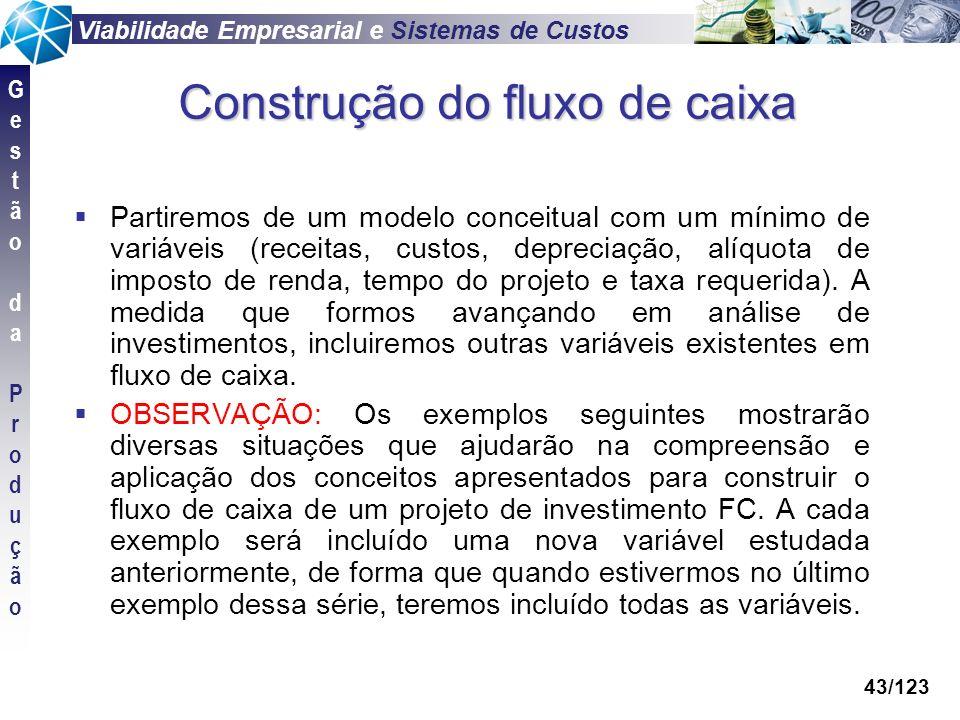 Viabilidade Empresarial e Sistemas de Custos GestãodaProduçãoGestãodaProdução 43/123 Construção do fluxo de caixa Partiremos de um modelo conceitual c