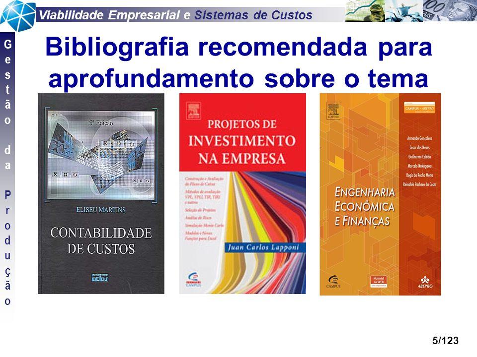 Viabilidade Empresarial e Sistemas de Custos GestãodaProduçãoGestãodaProdução 5/123 Bibliografia recomendada para aprofundamento sobre o tema