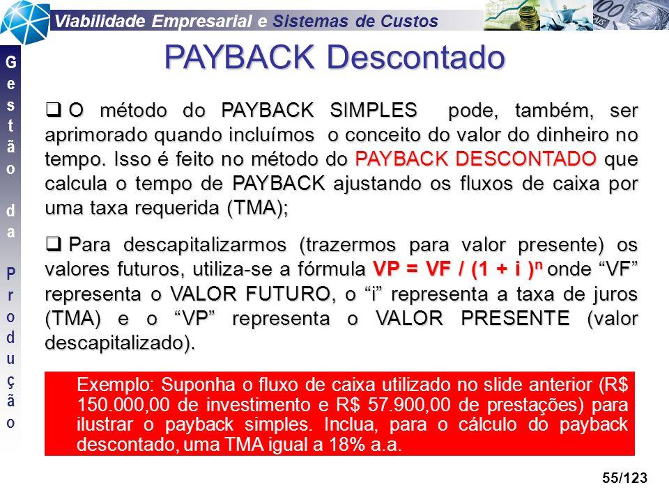 Viabilidade Empresarial e Sistemas de Custos GestãodaProduçãoGestãodaProdução 55/123 Exemplo: Suponha o fluxo de caixa utilizado no slide anterior (R$