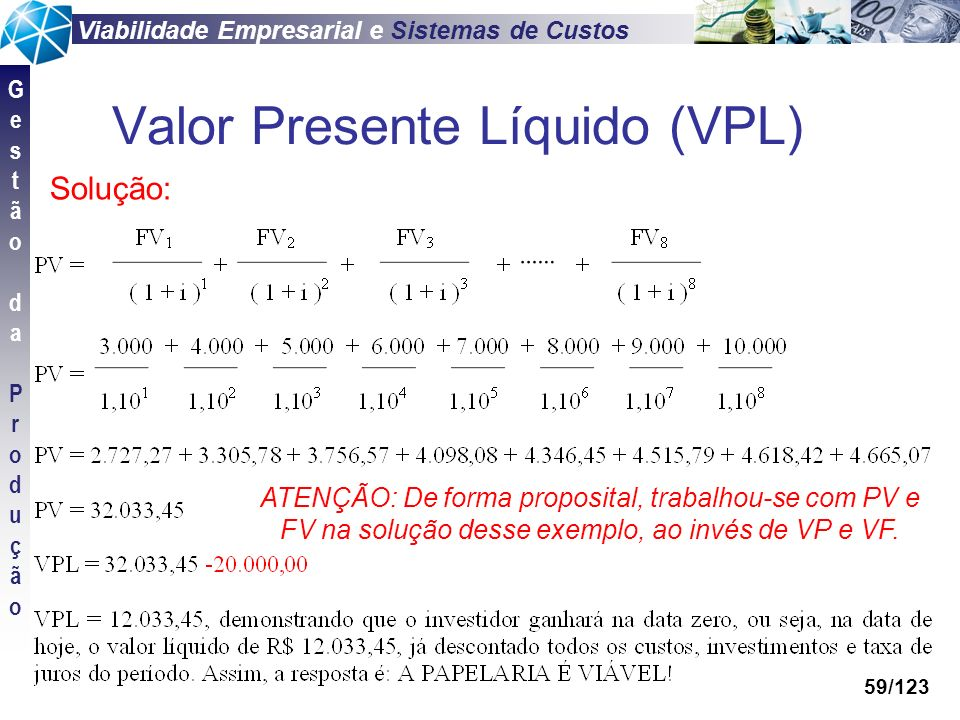 Viabilidade Empresarial e Sistemas de Custos GestãodaProduçãoGestãodaProdução 59/123 Valor Presente Líquido (VPL) Solução: ATENÇÃO: De forma proposita