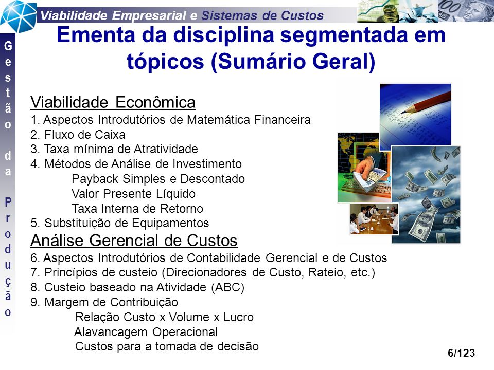 Viabilidade Empresarial e Sistemas de Custos GestãodaProduçãoGestãodaProdução 6/123 Viabilidade Econômica 1. Aspectos Introdutórios de Matemática Fina