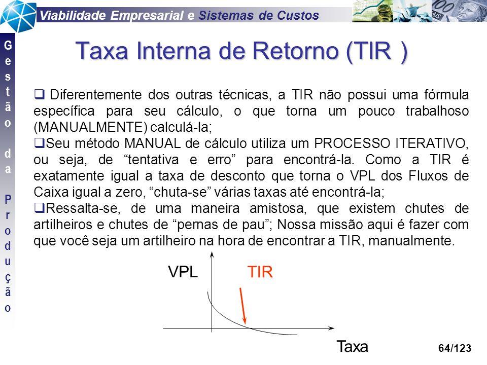 Viabilidade Empresarial e Sistemas de Custos GestãodaProduçãoGestãodaProdução 64/123 Taxa Interna de Retorno (TIR ) Diferentemente dos outras técnicas