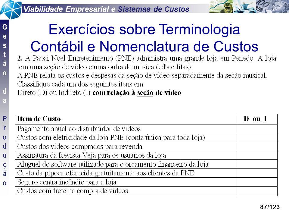 Viabilidade Empresarial e Sistemas de Custos GestãodaProduçãoGestãodaProdução 87/123 Exercícios sobre Terminologia Contábil e Nomenclatura de Custos