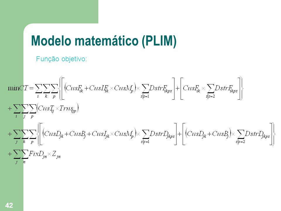 42 Modelo matemático (PLIM) Função objetivo: