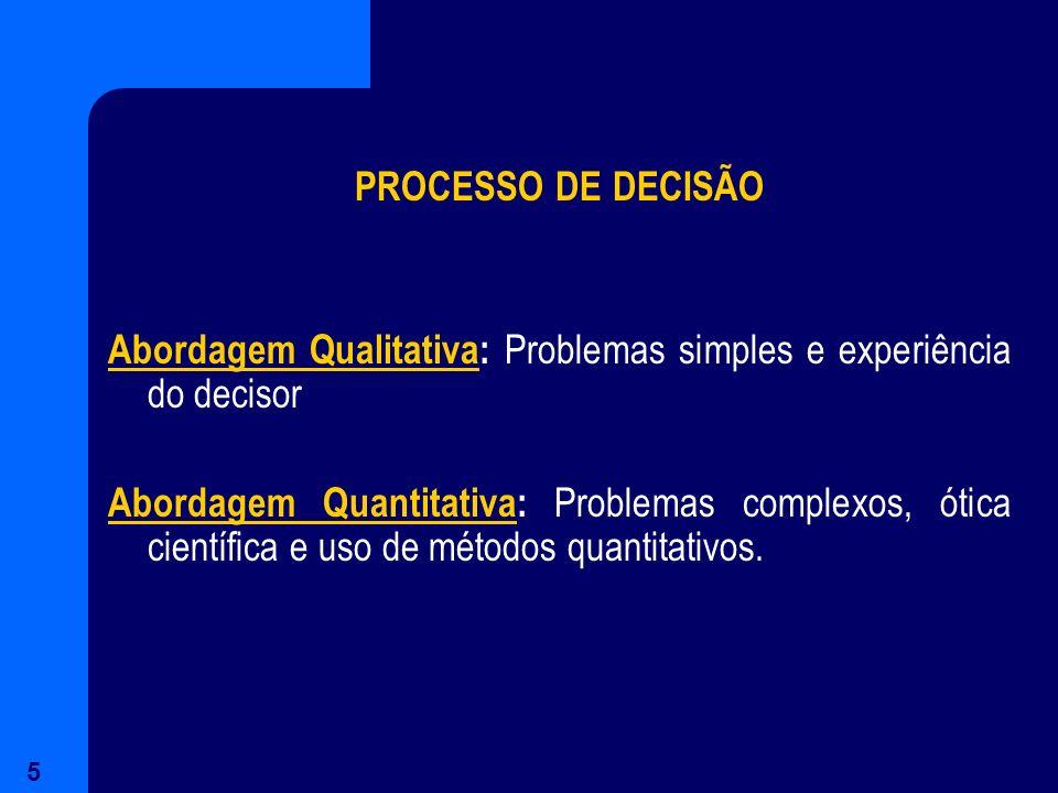 5 PROCESSO DE DECISÃO Abordagem Qualitativa: Problemas simples e experiência do decisor Abordagem Quantitativa: Problemas complexos, ótica científica