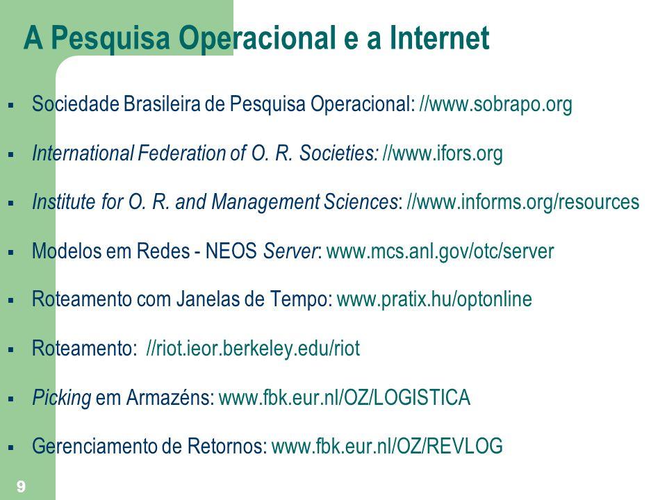 9 A Pesquisa Operacional e a Internet Sociedade Brasileira de Pesquisa Operacional: //www.sobrapo.org International Federation of O. R. Societies: //w