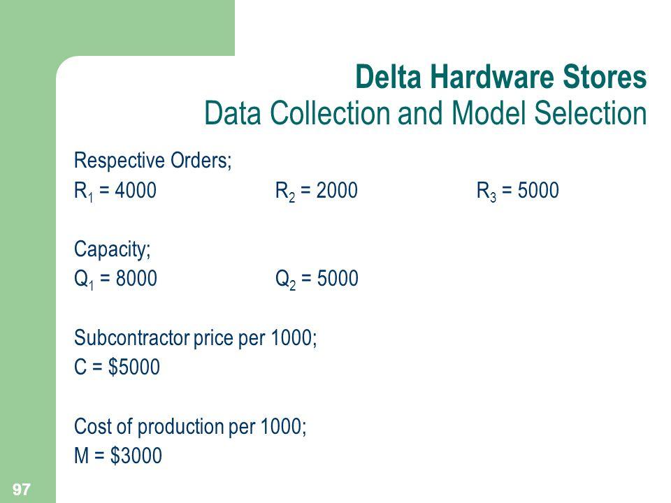 97 Respective Orders; R 1 = 4000R 2 = 2000R 3 = 5000 Capacity; Q 1 = 8000Q 2 = 5000 Subcontractor price per 1000; C = $5000 Cost of production per 100