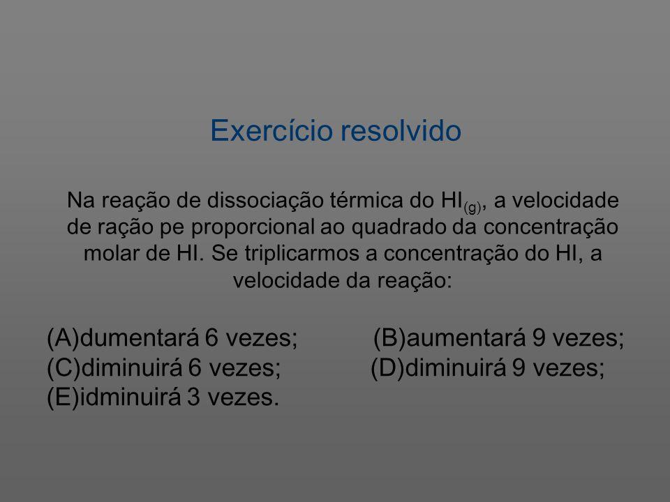 Exercício resolvido (A)dumentará 6 vezes; (B)aumentará 9 vezes; (C)diminuirá 6 vezes; (D)diminuirá 9 vezes; (E)idminuirá 3 vezes. Na reação de dissoci