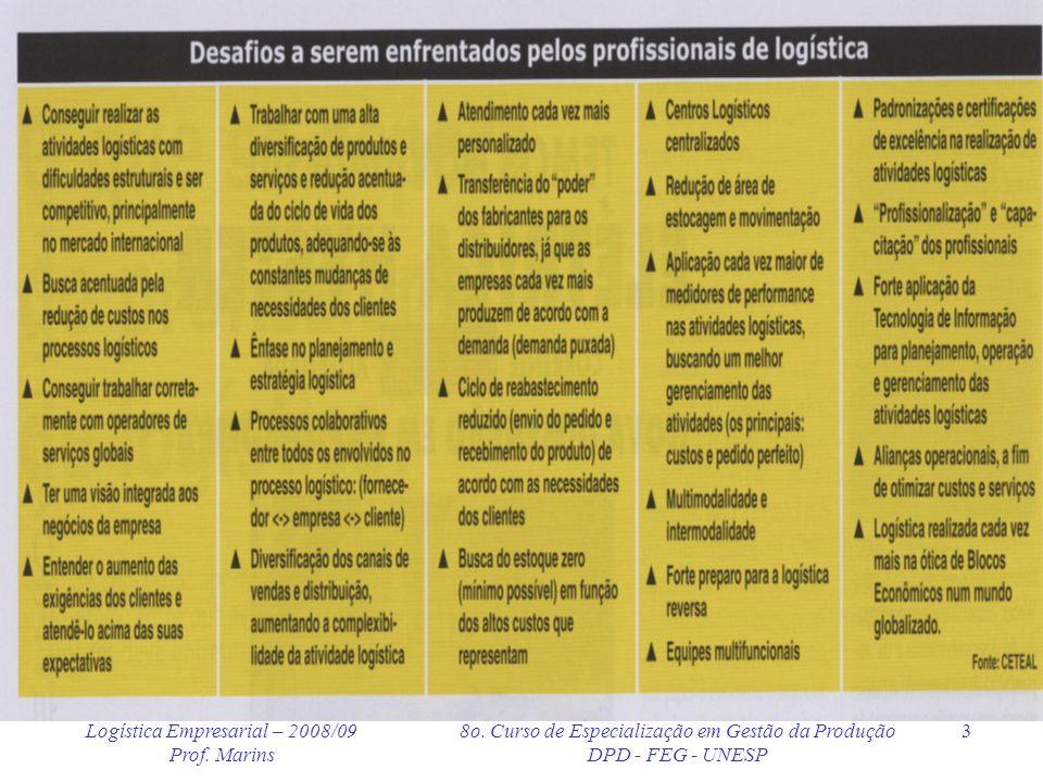 Logística Empresarial – 2008/09 Prof. Marins 8o. Curso de Especialização em Gestão da Produção DPD - FEG - UNESP 3