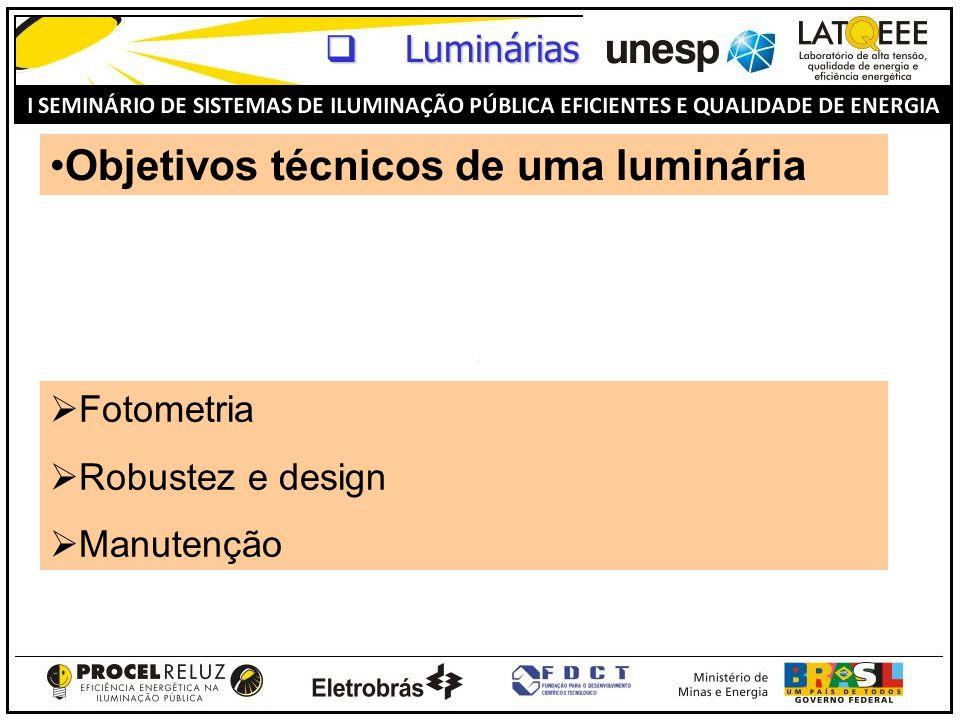 Objetivos técnicos de uma luminária Fotometria Robustez e design Manutenção Luminárias Luminárias