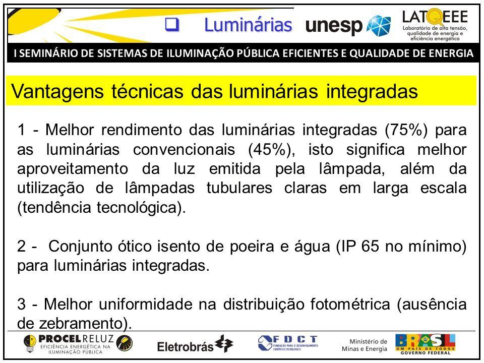 1 - Melhor rendimento das luminárias integradas (75%) para as luminárias convencionais (45%), isto significa melhor aproveitamento da luz emitida pela