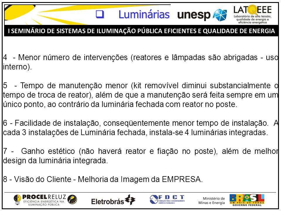 4 - Menor número de intervenções (reatores e lâmpadas são abrigadas - uso interno). 5 - Tempo de manutenção menor (kit removível diminui substancialme