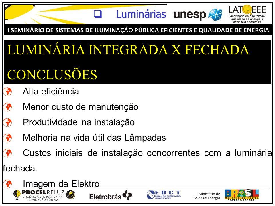 LUMINÁRIA INTEGRADA X FECHADA CONCLUSÕES Alta eficiência Menor custo de manutenção Produtividade na instalação Melhoria na vida útil das Lâmpadas Cust