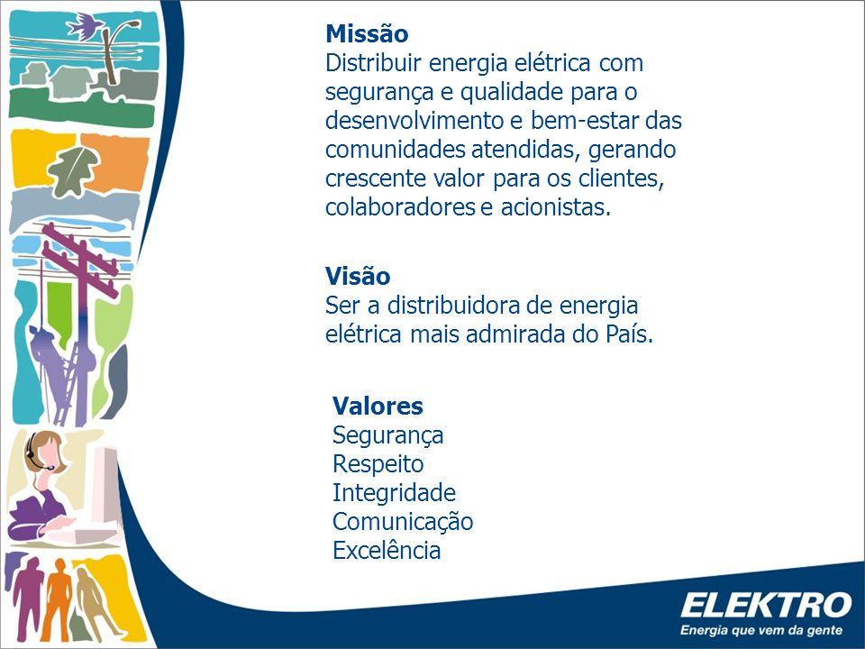 2 Visão Ser a distribuidora de energia elétrica mais admirada do País. Missão Distribuir energia elétrica com segurança e qualidade para o desenvolvim