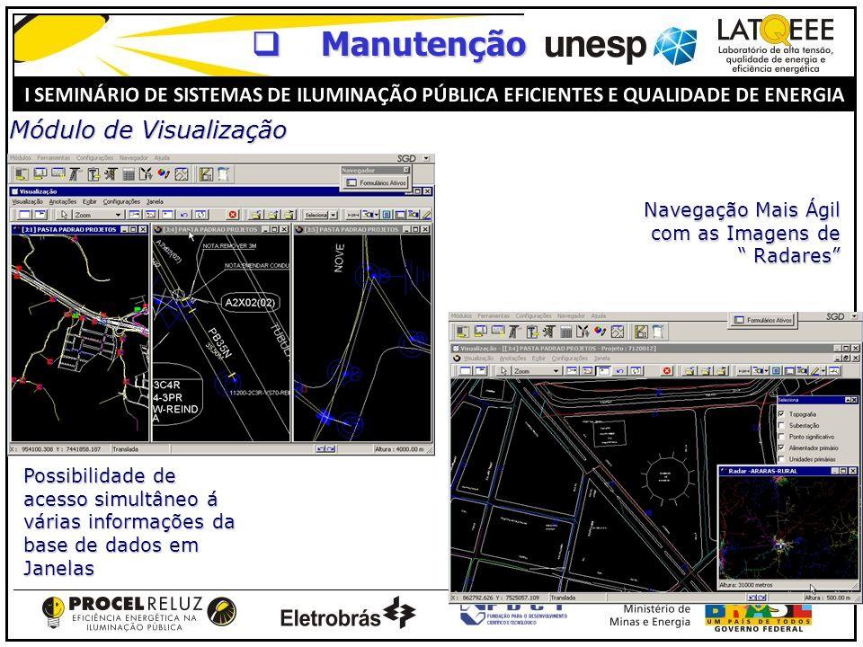 Módulo de Visualização Navegação Mais Ágil com as Imagens de Radares Possibilidade de acesso simultâneo á várias informações da base de dados em Janel