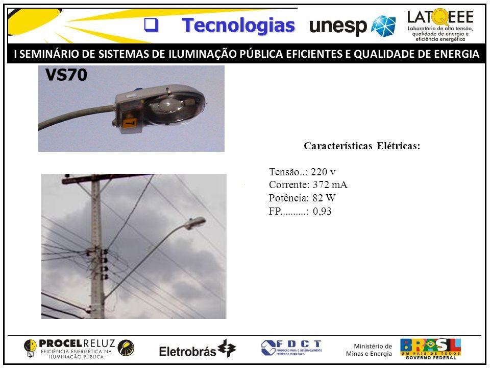 Tecnologias Tecnologias Características Elétricas: Tensão..: 220 v Corrente: 372 mA Potência: 82 W FP..........: 0,93 VS70