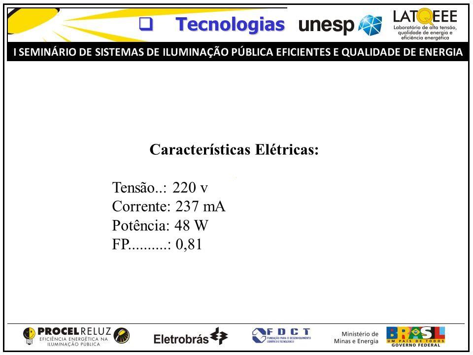 Tecnologias Tecnologias Características Elétricas: Tensão..: 220 v Corrente: 237 mA Potência: 48 W FP..........: 0,81