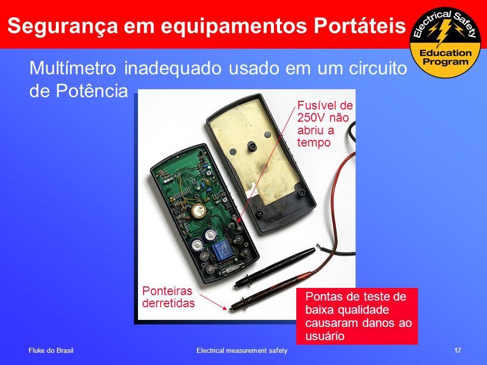 Fluke do Brasil Electrical measurement safety 17 Ponteiras derretidas Fusível de 250V não abriu a tempo Multímetro inadequado usado em um circuito de
