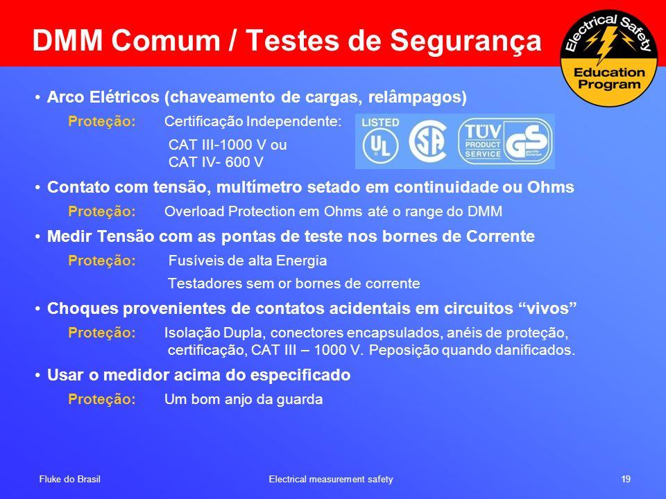 Fluke do Brasil Electrical measurement safety 19 Arco Elétricos (chaveamento de cargas, relâmpagos) Proteção: Certificação Independente: CAT III-1000
