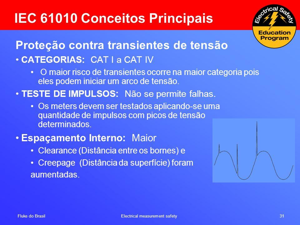 Fluke do Brasil Electrical measurement safety 31 IEC 61010 Conceitos Principais Proteção contra transientes de tensão CATEGORIAS: CAT I a CAT IV O mai