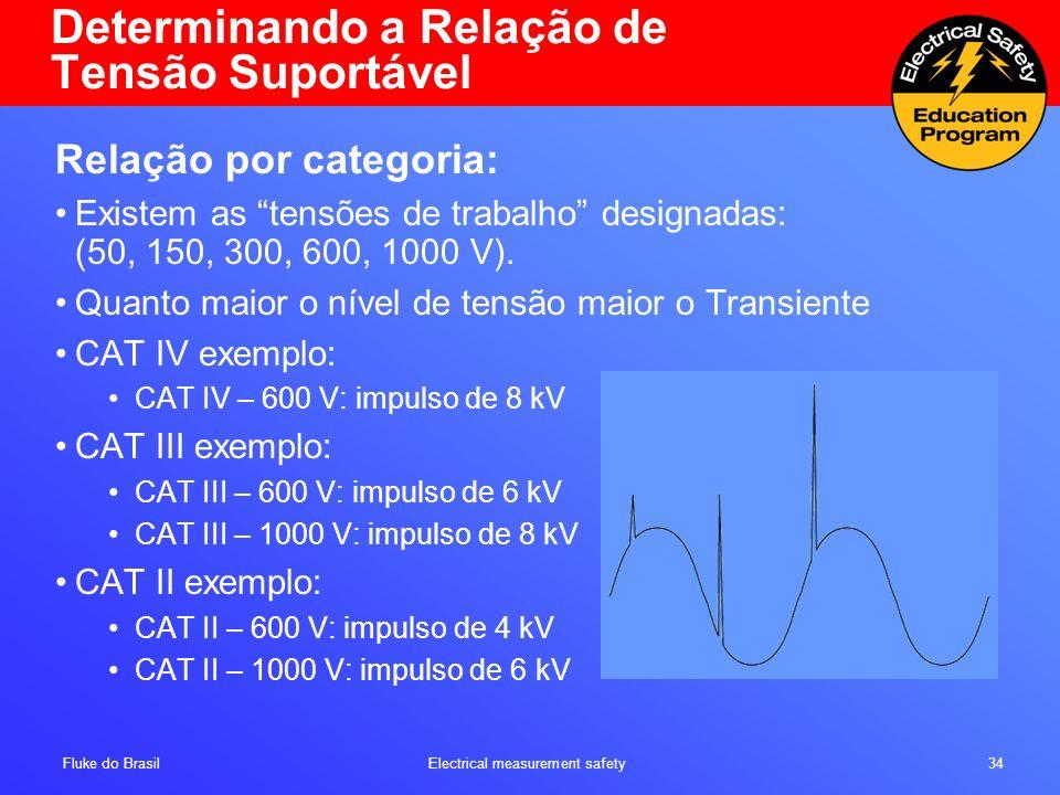 Fluke do Brasil Electrical measurement safety 34 Determinando a Relação de Tensão Suportável Relação por categoria: Existem as tensões de trabalho des