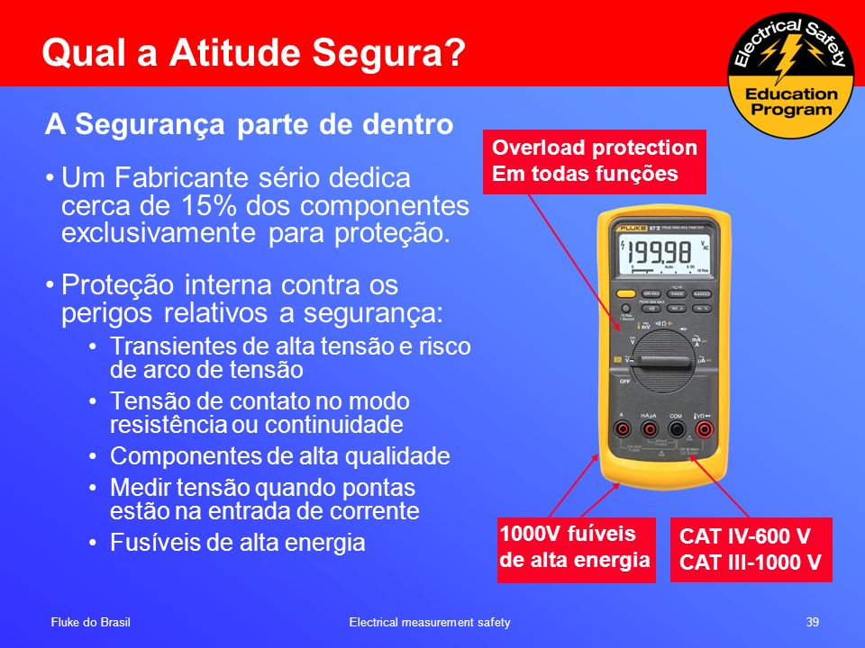 Fluke do Brasil Electrical measurement safety 39 CAT IV-600 V CAT III-1000 V Qual a Atitude Segura.