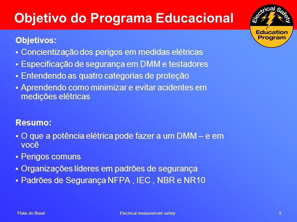 Fluke do Brasil Electrical measurement safety 5 Objetivo do Programa Educacional Objetivos: Concientização dos perigos em medidas elétricas Especifica