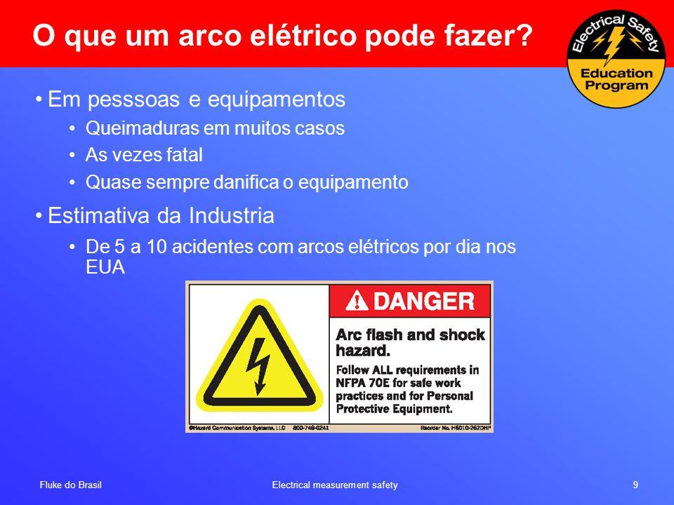 Fluke do Brasil Electrical measurement safety 9 O que um arco elétrico pode fazer? Em pesssoas e equipamentos Queimaduras em muitos casos As vezes fat