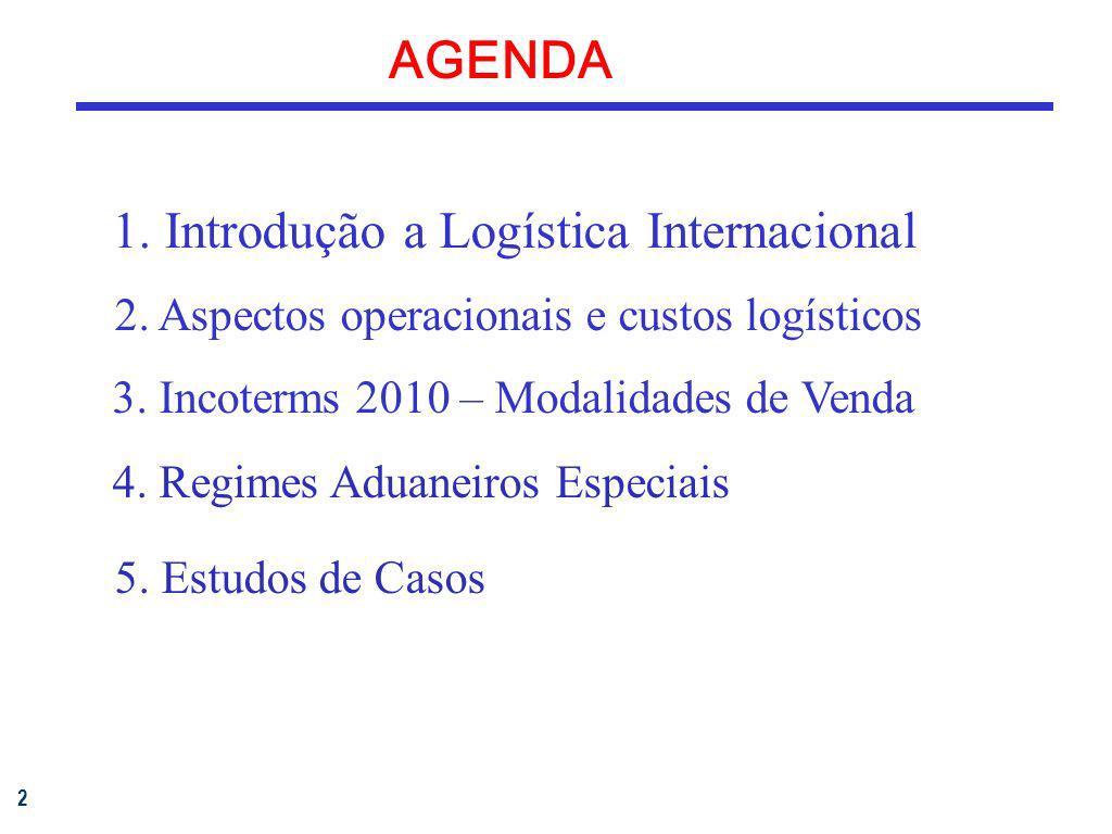 2 AGENDA 1. Introdução a Logística Internacional 2. Aspectos operacionais e custos logísticos 3. Incoterms 2010 – Modalidades de Venda 4. Regimes Adua