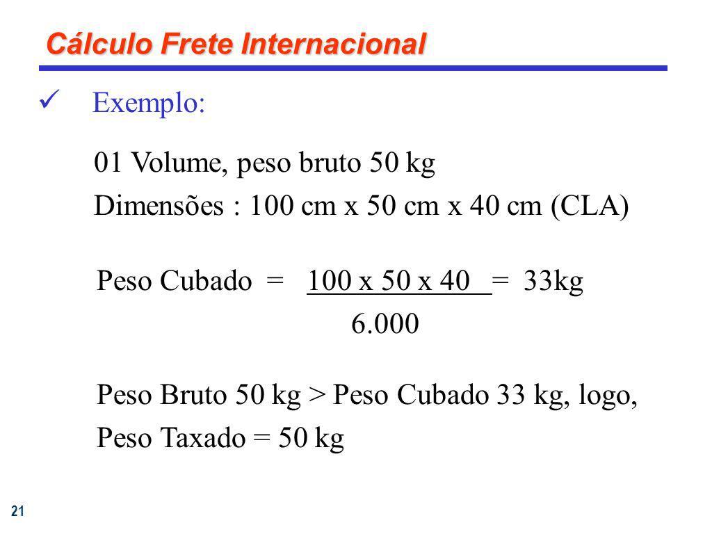 21 Exemplo: 01 Volume, peso bruto 50 kg Dimensões : 100 cm x 50 cm x 40 cm (CLA) Peso Cubado =100 x 50 x 40 = 33kg 6.000 Peso Bruto 50 kg > Peso Cubad