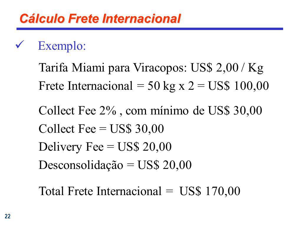 22 Exemplo: Tarifa Miami para Viracopos: US$ 2,00 / Kg Frete Internacional = 50 kg x 2 = US$ 100,00 Collect Fee 2%, com mínimo de US$ 30,00 Collect Fe