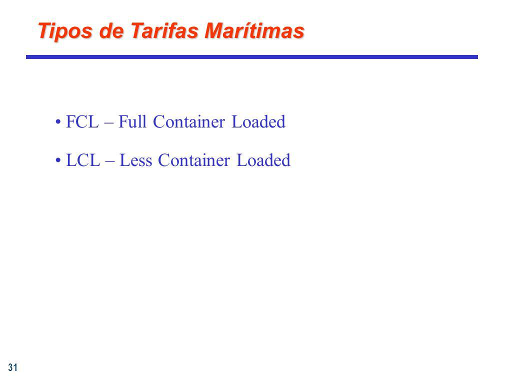 31 Tipos de Tarifas Marítimas FCL – Full Container Loaded LCL – Less Container Loaded