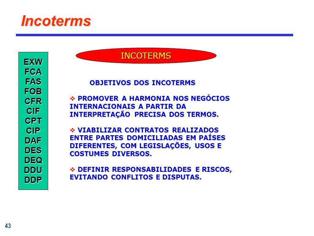 43 Incoterms EXWFCAFASFOBCFRCIFCPTCIPDAFDESDEQDDUDDP INCOTERMS OBJETIVOS DOS INCOTERMS OBJETIVOS DOS INCOTERMS PROMOVER A HARMONIA NOS NEGÓCIOS INTERN