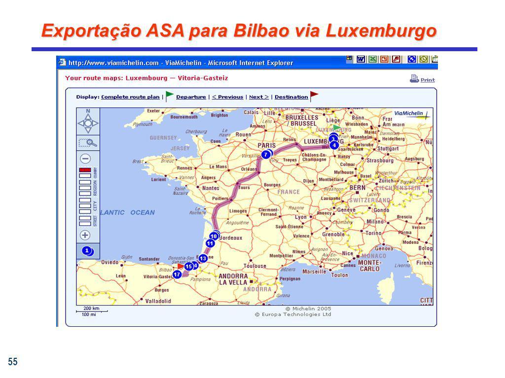 55 Exportação ASA para Bilbao via Luxemburgo