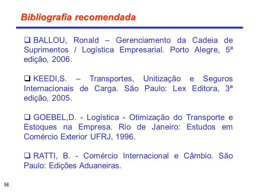 56 Bibliografia recomendada BALLOU, Ronald – Gerenciamento da Cadeia de Suprimentos / Logística Empresarial. Porto Alegre, 5ª edição, 2006. KEEDI,S. –