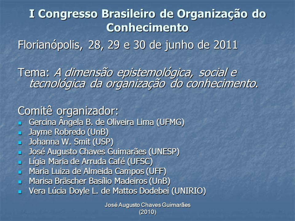 José Augusto Chaves Guimarães (2010) I Congresso Brasileiro de Organização do Conhecimento Florianópolis, 28, 29 e 30 de junho de 2011 Tema: A dimensã