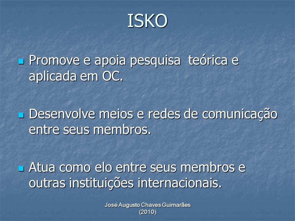José Augusto Chaves Guimarães (2010) ISKO Promove e apoia pesquisa teórica e aplicada em OC. Promove e apoia pesquisa teórica e aplicada em OC. Desenv