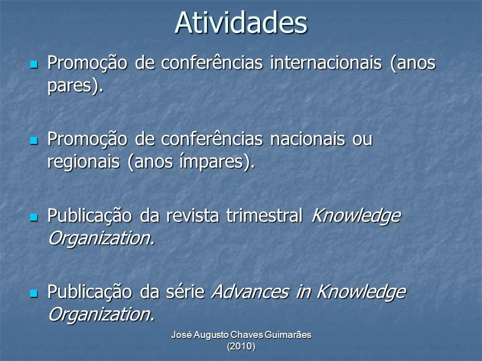 José Augusto Chaves Guimarães (2010) Atividades Promoção de conferências internacionais (anos pares). Promoção de conferências internacionais (anos pa