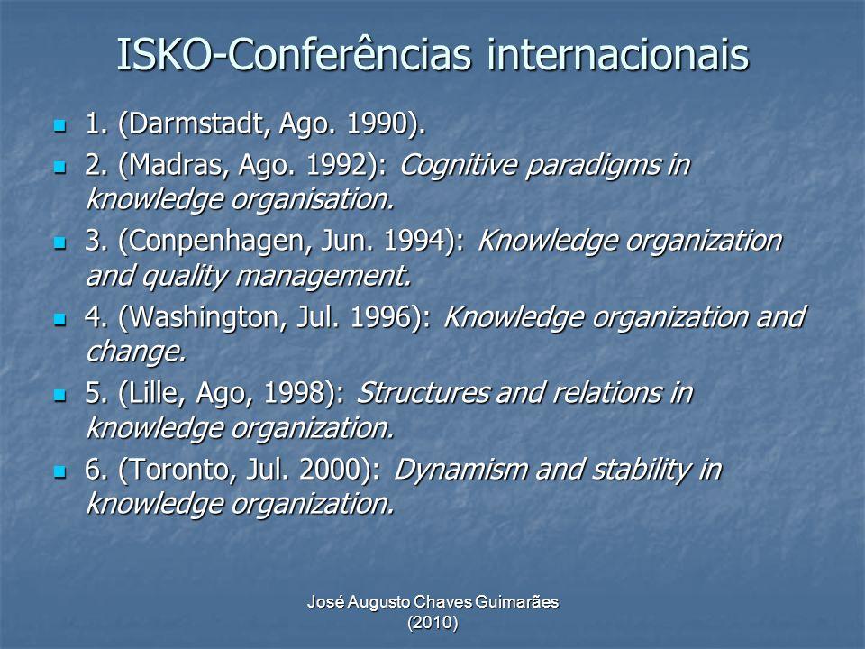 José Augusto Chaves Guimarães (2010) ISKO-Conferências internacionais 1. (Darmstadt, Ago. 1990). 1. (Darmstadt, Ago. 1990). 2. (Madras, Ago. 1992): Co