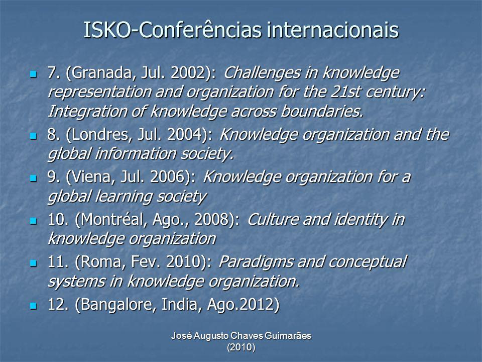 José Augusto Chaves Guimarães (2010) ISKO-Conferências internacionais 7. (Granada, Jul. 2002): Challenges in knowledge representation and organization