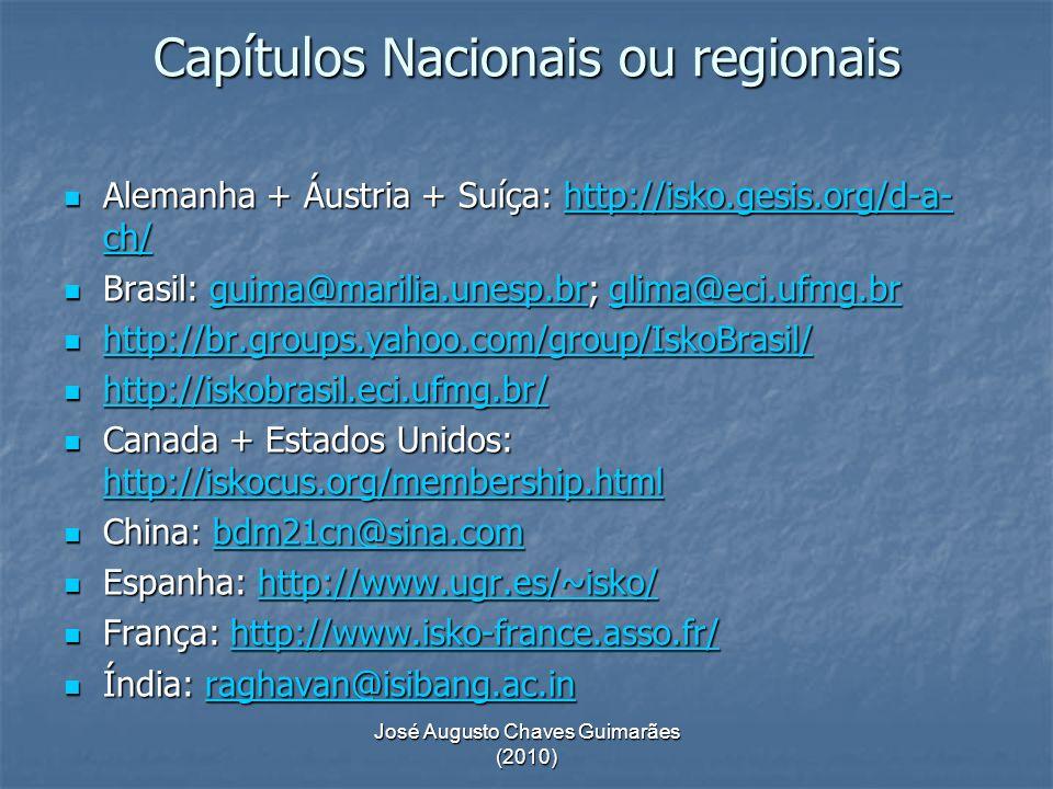 José Augusto Chaves Guimarães (2010) Capítulos Nacionais ou regionais Maghreb (Tunísia + Argélia + Marrocos): sahbi.sidhom@loria.fr Maghreb (Tunísia + Argélia + Marrocos): sahbi.sidhom@loria.fr sahbi.sidhom@loria.fr Países nórdicos (Dinamarca + Suécia + Finlândia + Islândia): http://www.isko-nordic.eu Países nórdicos (Dinamarca + Suécia + Finlândia + Islândia): http://www.isko-nordic.euhttp://www.isko-nordic.eu Polônia: http://www.inib.uj.edu.pl/ISKO_PL/index1.htm Polônia: http://www.inib.uj.edu.pl/ISKO_PL/index1.htm http://www.inib.uj.edu.pl/ISKO_PL/index1.htm Reino Unido: http://www.iskouk.org/ Reino Unido: http://www.iskouk.org/http://www.iskouk.org/ Outros contatos locais: Eslováquia, Geórgia, Irã, Romênia e Rússia.