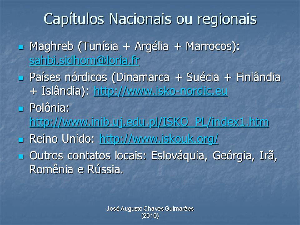José Augusto Chaves Guimarães (2010) Capítulos Nacionais ou regionais Maghreb (Tunísia + Argélia + Marrocos): sahbi.sidhom@loria.fr Maghreb (Tunísia +