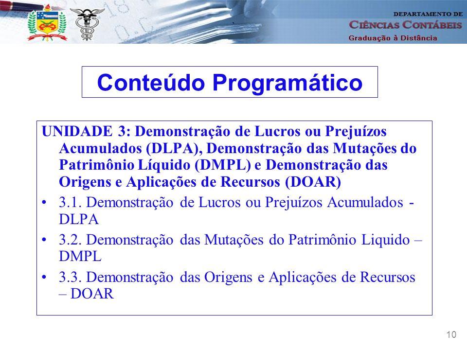 11 UNIDADE 4: Demonstração do Fluxo de Caixa; Demonstração do Valor adicionado e Princípios Fundamentais de Contabilidade 4.1 Lei 11.638 de 28 de dezembro de 2007 4.2 Demonstração do Fluxo de Caixa 4.3 Demonstração do Valor Adicionado 4.4 Demais alterações ocorridas pela Lei 11.638/07 4.5 A importância dos Princípios Fundamentais de Contabilidade Conteúdo Programático
