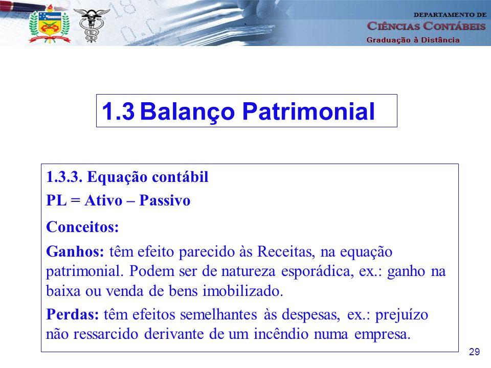 30 1.3.3.Equação contábil a) Capital nominal: Patrimônio Líquido Inicial.