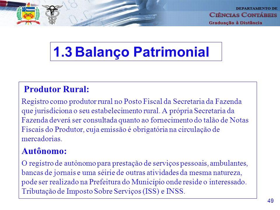 50 Enquadramento como Microempresa e Empresa de Pequeno Porte: Lei 9.317 de 05.12.96 atividade a ser desenvolvida limite de faturamento estabelecido 1.3 Balanço Patrimonial