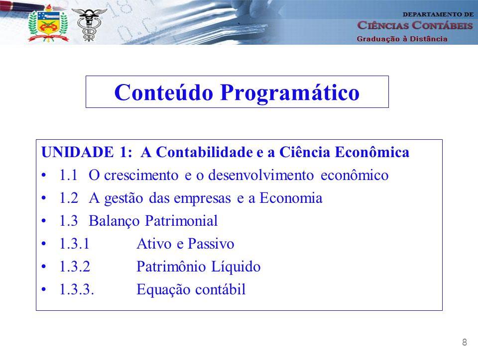 9 UNIDADE 2: Demonstração do Resultado do Exercício e Contabilidade por Balanços Sucessivos e o Método das Partidas Dobradas 2.1.